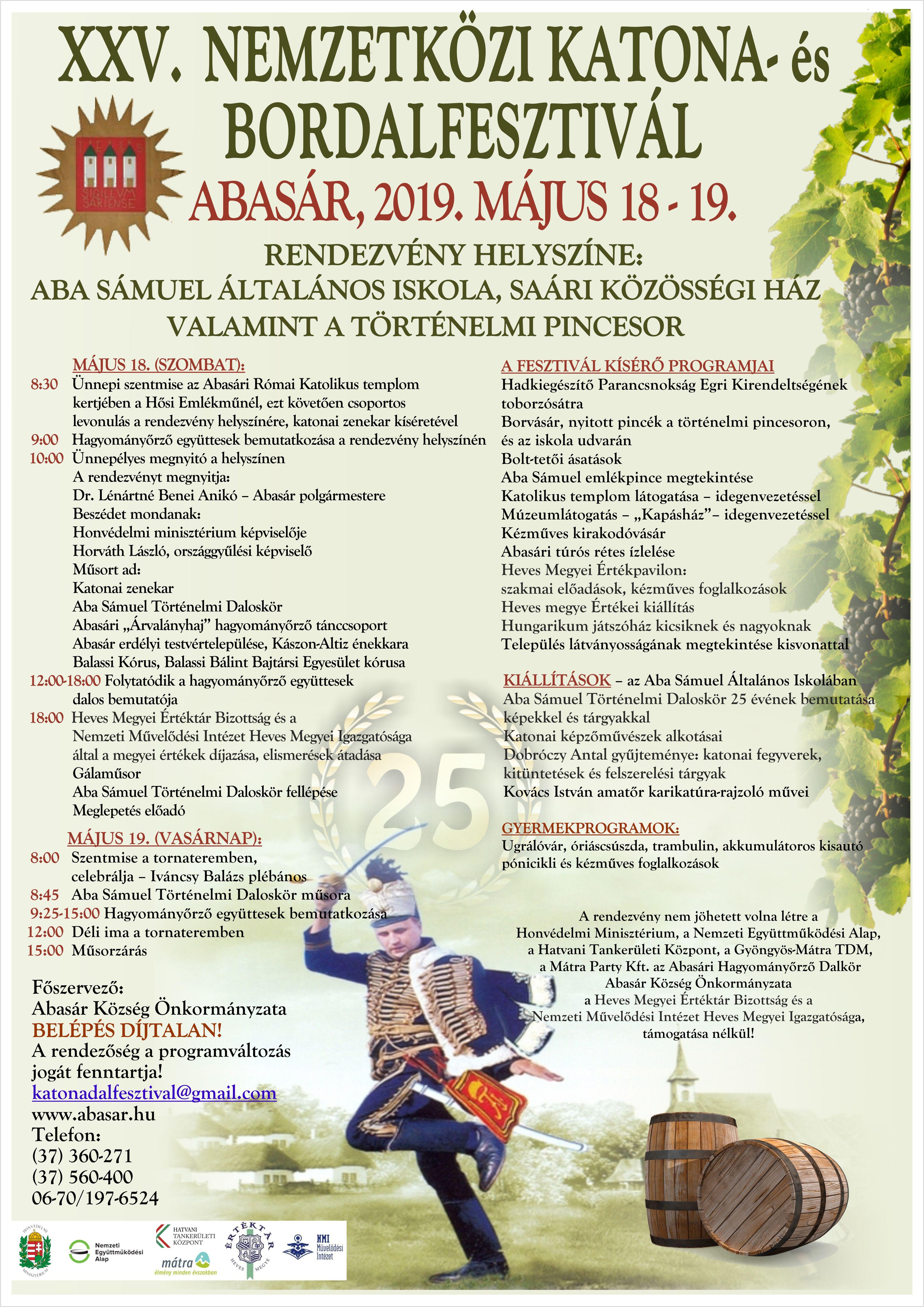 Negyedszázados az abasári Nemzetközi Katona- és Bordal Fesztivál