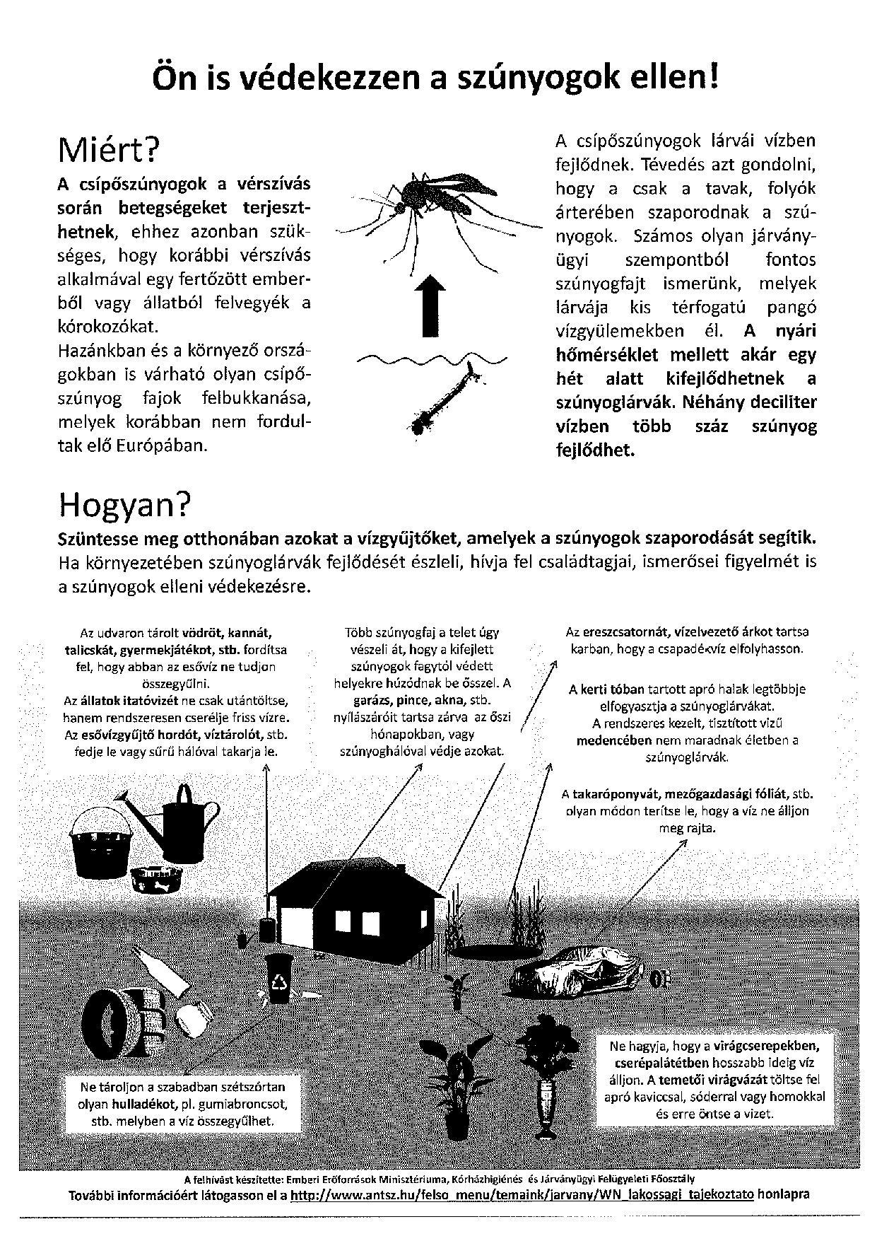 Tájékoztatás a szúnyogok elleni védekezésről