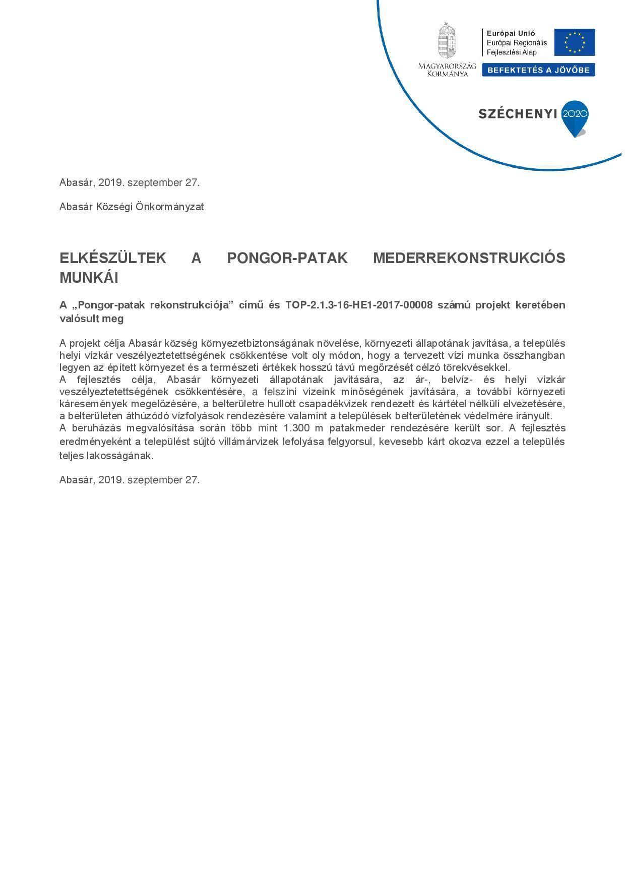 ELKÉSZÜLTEK A PONGOR-PATAK MEDERREKONSTRUKCIÓS MUNKÁI