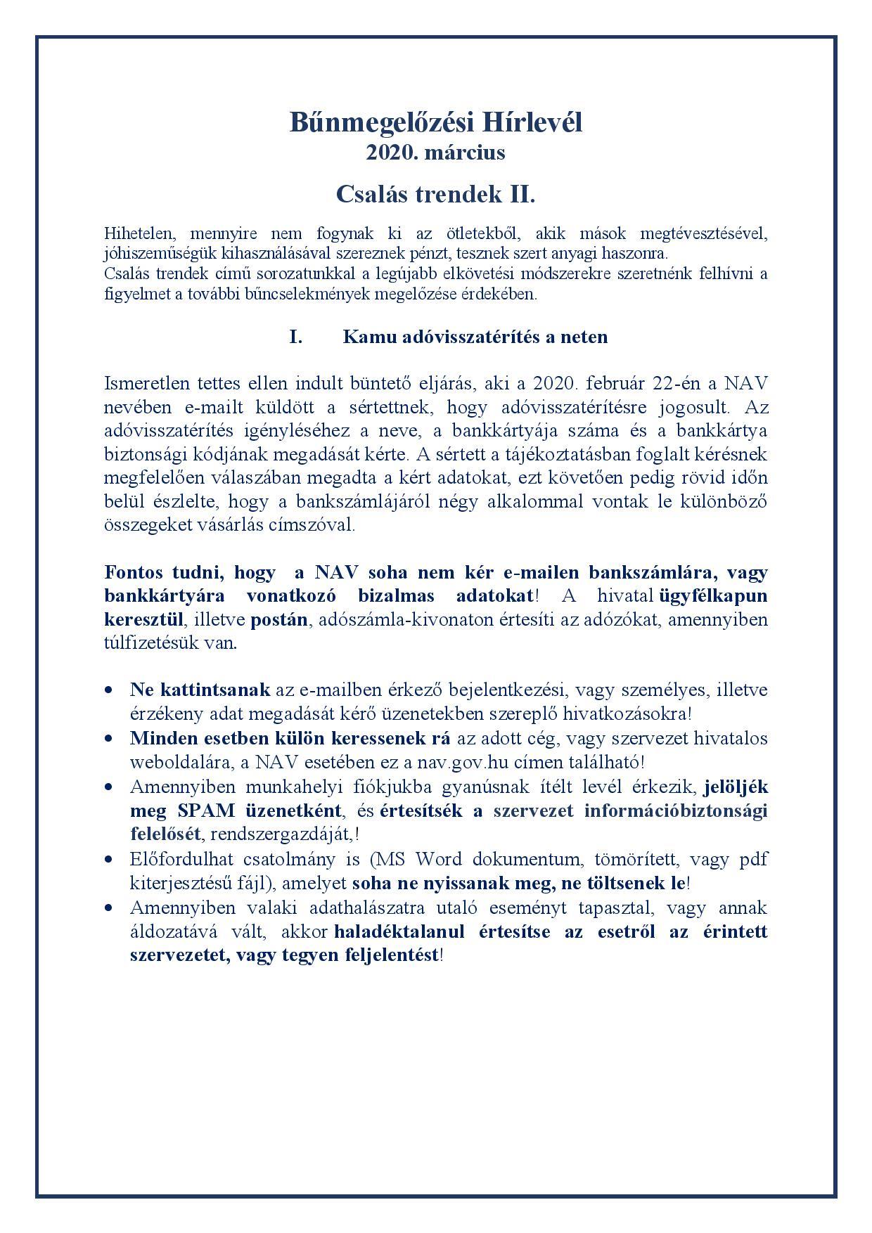 A Heves Megyei Rendőr-főkapitányság  Bűnmegelőzési Alosztályának márciusi hírlevele