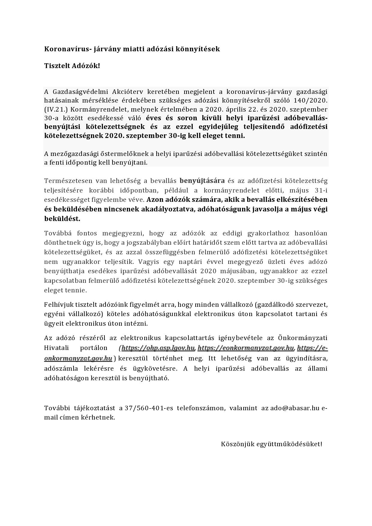 Koronavírus- járvány miatti adózási könnyítések